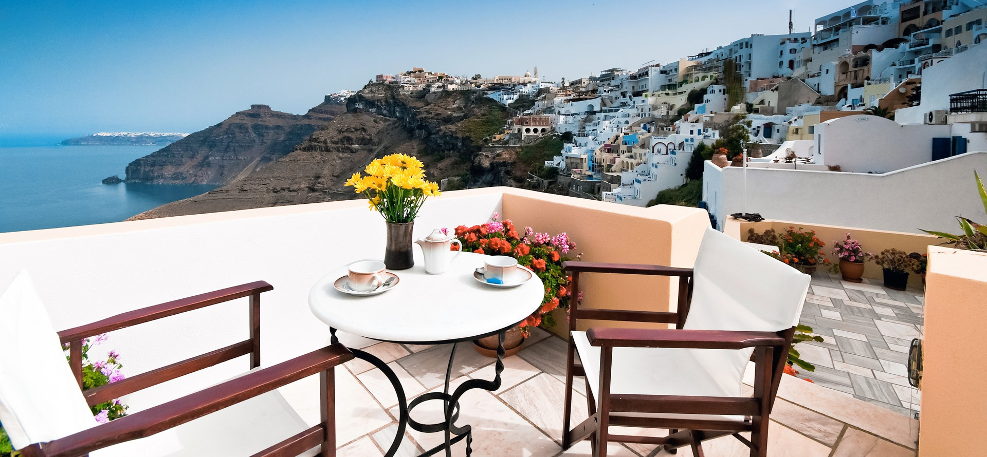 Cori Rigas Suites-Fira-Santorini-Terraces with view to the volcano